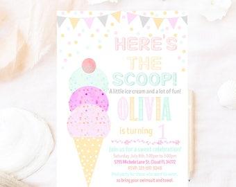 Ice cream birthday invitation, Watercolor ice cream birthday invitation Ice cream birthday invitation, Here the scoop birthday invitation