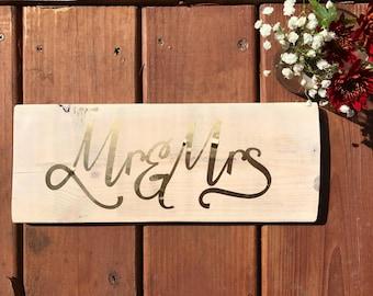 Mr & Mrs Wood Sign - Rustic Wedding Sign