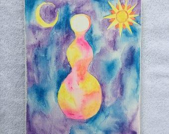 Original Watercolor Painting - Moon and Sun Goddess