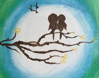 "8""x10"" Love Birds Canvas Art"