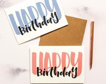 Happy Birthday Brush Lettered Card
