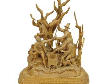 elaborate carved tyrolian group of poachers in the forest ca. 1880