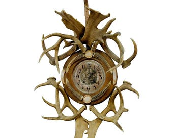 antique cabin decor antler wall clock 1900