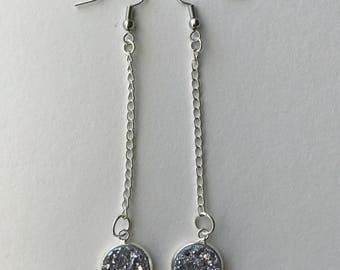 Faux Druzy Dangle Earrings/Silver/The Ryan