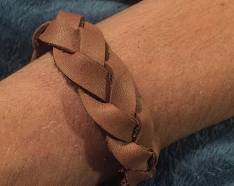 braided oil tanned leather cuff