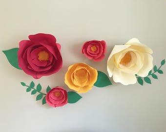 Paper flower set, card stock flowers, fully assembled