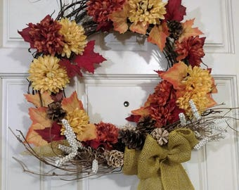 Autumn Fall Pine Cone Burlap Ribbon Wreath