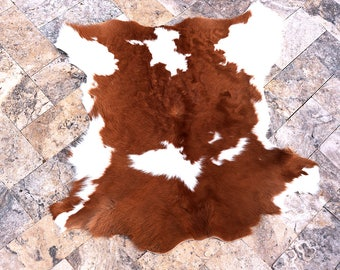 Brown & White 3 color Cowhide Skin calf hide rug Leather 3' x 3' calfskin Luxurious Quality