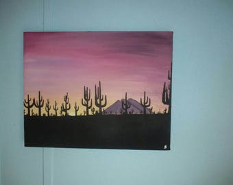 Desert Sky - Original 11x14 Acrylic Painting on Stretched Canvas