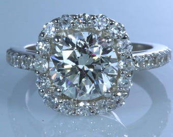 2.52 ct Round Cut D/SI1 Diamond  Engagement Ring 14K WHITE GOLD