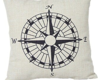 Compass North South East West Pillow Cover
