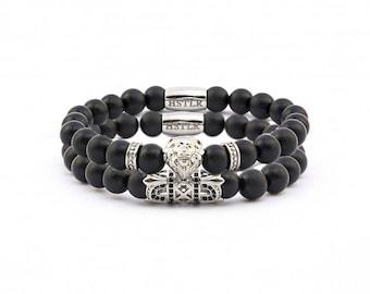 Stick lion bracelet, gemstone bracelet, bracelet, Masjestic, matt Onyx gemstones