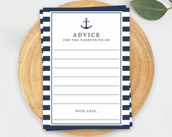Modern Baby Shower Keepsakes Nautical Baby Shower Game Advice Cards Advice for New Parents Nautical Baby Boy Shower Games Printables PDF NS1