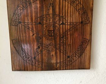 Police Badge, Wood Burned, Wall Decor