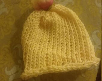 Beautiful Creme and Flower Top Knit Baby Beanie Hat for Toddler
