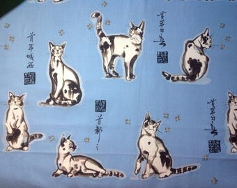 Haiku Cat / 100% Cotton Fabric /Alexander Henry / Light Blue Background / White Cats / Black Japanese Letters / Sold by the 1/2 Yard