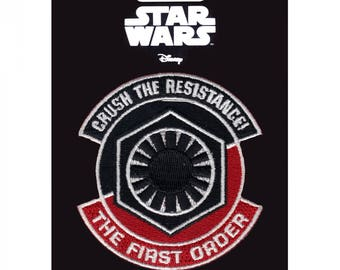 Official Disney Star Wars 'Crush The Resistance' Script Crest Bounty Hunter Iron On Embroidered Lucas-film Patch