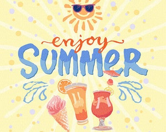 Enjoy summer watercolor style