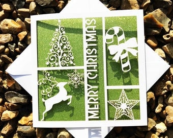 Merry Christmas Card, Happy Christmas Card, Xmas Card, Laser Cut Christmas Card, Christmas Gift, Xmas Gift, Reindeer Card