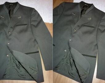 German loden hunting mens olive green wool trachten military jacket blazer suit coat L vintage Oktoberfest folk rustic twin peaks shirt mod