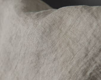 Linen fabric, washed linen, 170gsm. Natural gray color. Linen fabric by the meters, linen by the yard