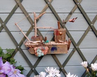 Driftwood Fishing Boat -  Wall Hanging.