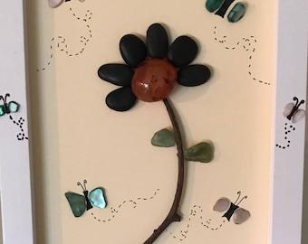 Single Flower and Butterflies, Nature Art, Pebble Art, Love, Mixed Media Home Decor