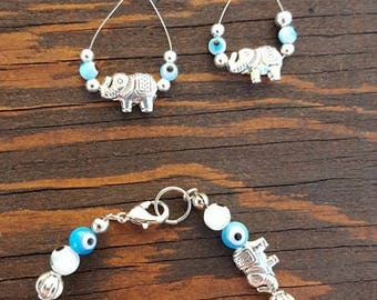 """Handcrafted boho style """"elephant"""" and """"evil eye"""" 6in bracelet and earring set"""