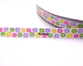 1 meter of multicolor floral Ribbon