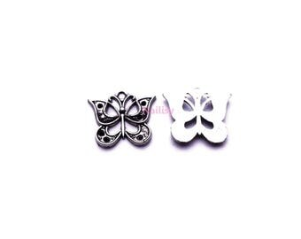 Set of 15 silver Butterfly charms REFP799X3