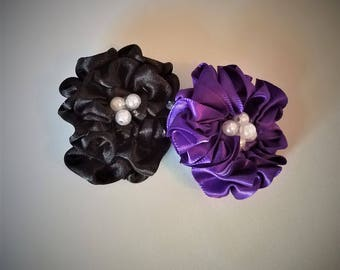 Ribbon and Pearl Flowers, Wedding flowers, Wedding decor, Special occasion flowers, fabric flower, Set of 10 Flowers, Wedding Accessory