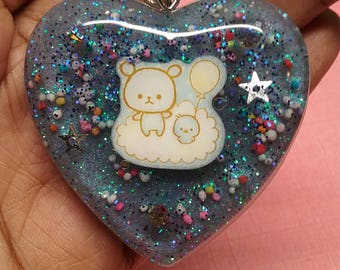 Kawaii Teddy Bear On Cloud Resin Keychain Charm