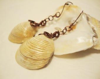 Dangle Earrings, Drop Earrings, Wire Wrapped Earrings, Seashell Earrings, Earrings, Shell Earrings, Wire Wrapped Jewelry, Beach Jewelry
