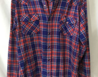 4th of July- 70's Vintage Roebucks Red Plaid Flannel Western Shirt w/ Pearl-Snap Buttons
