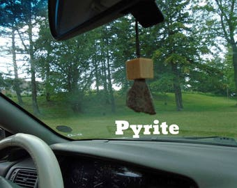 Pyrite mounted on custom made wood for your rear view mirror or interior window, Pyrite infused w Reiki