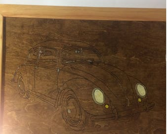 Wood Burnt VW