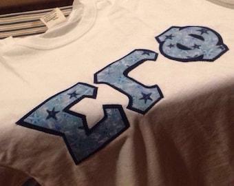 custom blue starfish Greek letter shirt