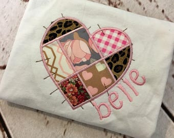 Valentines patchwork hearts applique with name girls shirt or dress long or short sleeve FREE SHIPPING
