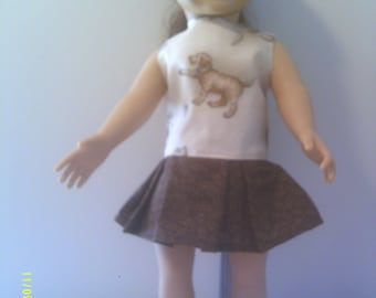 """18"""" doll dress with cute puppies"""