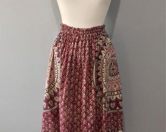 1970's  Batik Hippy Ethnic Skirt, Bohemian Free Size, Block Floral Print, Berry Red & Black, Folk Ready, Free Spirit, Festival Gypsy