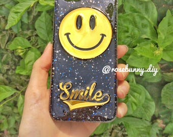 Smiley Glitter case Handmade, Black color for iPhone 6, 6s,  | Rose Bunny D.I.Y.