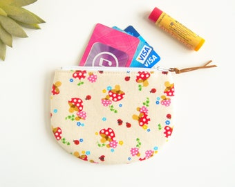 Mushroom Zipper Pouch, Round Coin Pouch, Coin Purse, Jewelry Case, Womens Mini Wallet, Credit Card Case, Small Zip Wallet, Fabric Purse