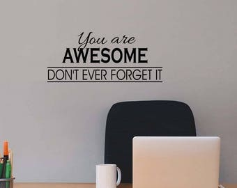 Awesome Life Vinyl Wall Sticker Inspirational Motivational Quote Wall Decal XL