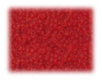 11/0 Red Frosted Glass Seed Beads - 1 oz. Bag