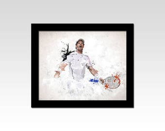Andy Murray inspired watercolour effect print