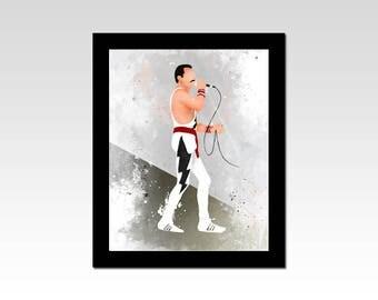 Freddie Mercury inspired abstract semi watercolour effect print