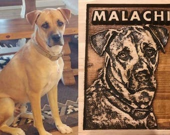 Your Pet Photo carved in Wood, realistic carving, dog sign, dog decor, Dog lover, pet decor- 4 x 6, 5 x 7, 8 x 10, 10 x 13 inches