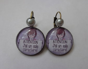 "Earrings cabochon 20mm ""warning I have a temper""."
