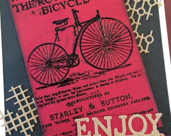 Bicycle Theme, Any Occasion, male or female, bicycle enthusiast, adventurer, vintage style, vintage advertisement, Black and Red Card