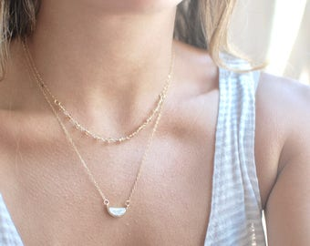 Layered Citrine and Howlite Necklace // 14k Gold Filled Layered Necklace // Howlite Marble Pendant // Gold Citrine // Gifts for Her